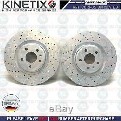 For Audi S5 3.0 V6 Front Cross Drilled Discs Brake Pads Kinetix Set Kit 345mm