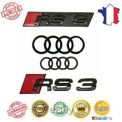 Audi A3 RS3 Set Kit Emblème Badge Logo Mark Gloss Black Finition Calandre Sport