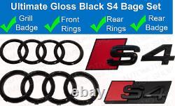 Audi S4 Noir Brillant Badge Kit Grille & Coffre Arrière Set Anneaux
