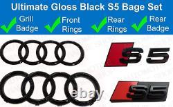 Audi S5 Noir Brillant Badge Anneaux Grille Kit Coffre Emblème Set