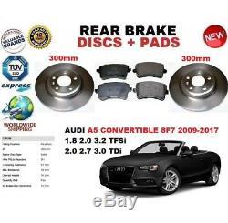 Pour Audi A5 Cabriolet Convertible 8F7 09-17 Frein Arrière Disque Set + Pads Kit